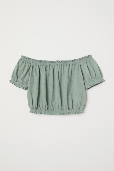 01aa7e6c05a20f Off-the-shoulder Top - Dusky green - Ladies