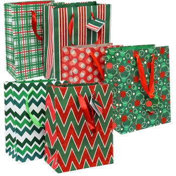 bulk christmas house medium traditional gift bags 2ct packs at dollartree