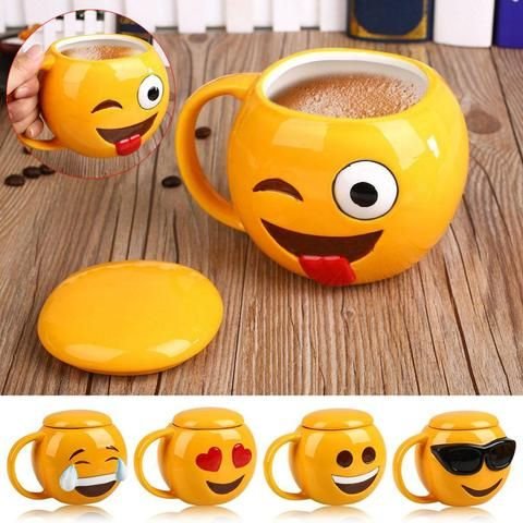 *Ceramic Emoji Mugs with Lid*  5 Styles