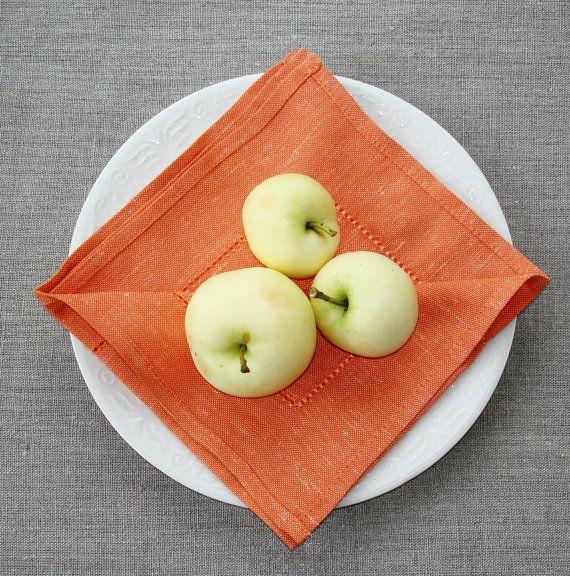 PUMPKIN ORANGE hemstitch, semi linen napkin set of 6. Plain woven, soft and elegant cloth napkins for wedding, dinner or any other occasion. Easy