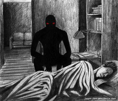 black apparition with red eyes  | experience with a shadow person