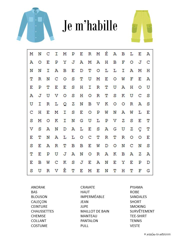 Here is a French word search featuring clothing vocabulary. It is free for you to print along with a lot of other French puzzles.