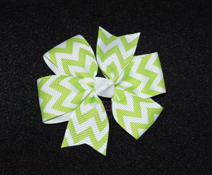 Small Chevron Bow, Green/White