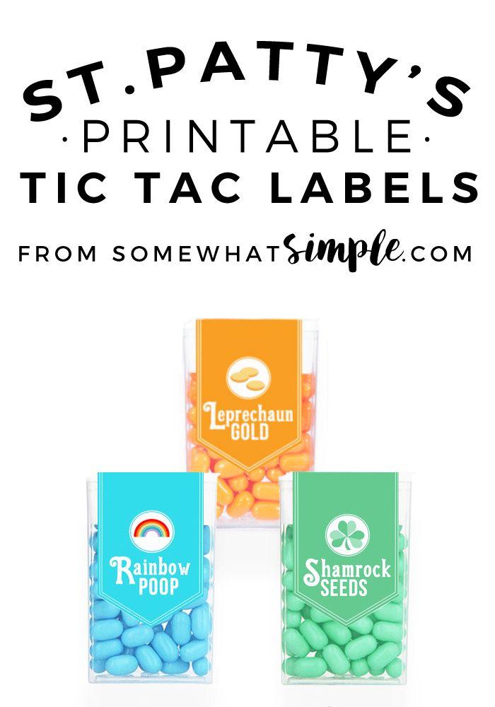 St. Patrick's Day Tic Tac Labels
