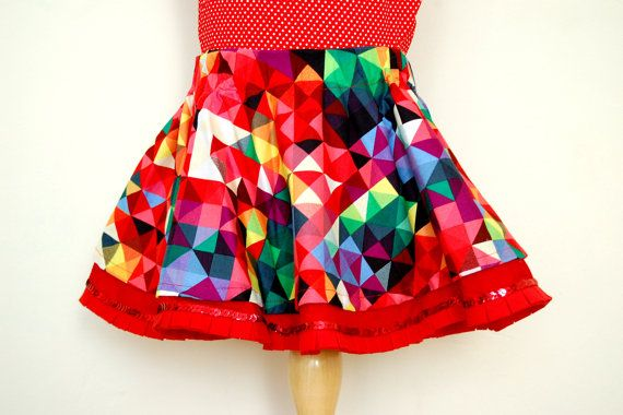 PIXEL MANIA girls toddler skirt - Circle twirl skirt handmade with geometric colourful fabric - Sizes 2T to 6 years