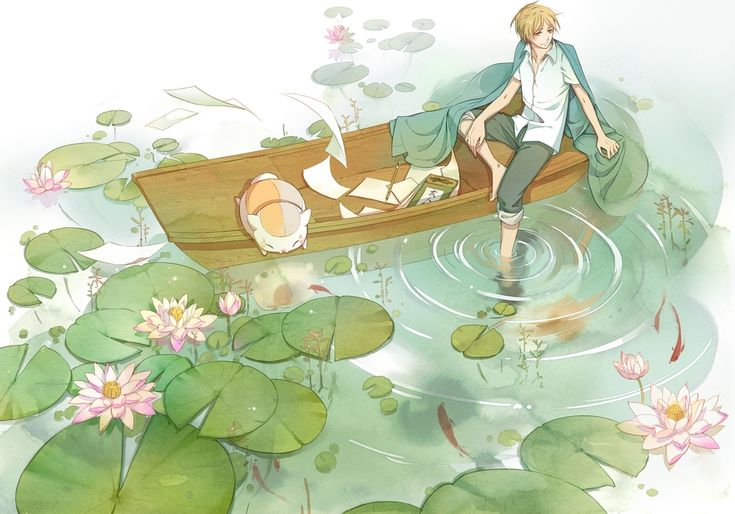 Natsume Yuujinchou ~~ Peaceful afternoon on the pond :: fanart :: note: It makes me nervous to see the Book of Friends so close to the water. Um, did Reiko use indelible ink? Hope so....