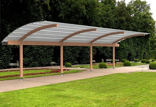 The Tarnhow Cantilever Free Standing Canopy with a polycarbonate roof.
