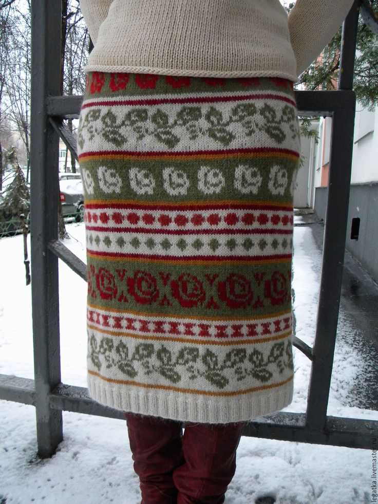 Купить Вязаная юбка с цветочным орнаментом - разноцветный, цветочный, юбка зимняя, юбка шерстяная