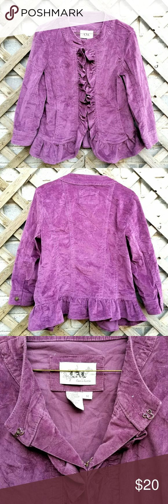 LAL fuax suede purple jacket with clasps Lice A Little Size M Purple Jacket Hook clasps  Faux Suede Rarely been worn Jackets & Coats