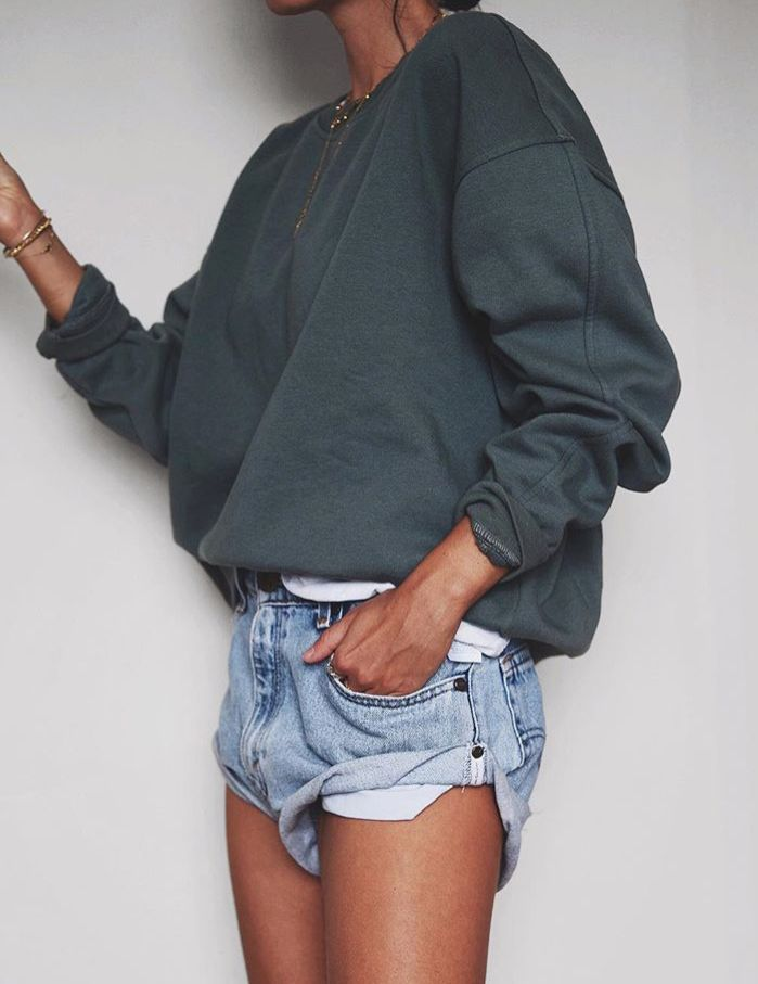 "classy-lovely: ""• Sweateshirt» • Denim shorts» "" I prefer a more distressed looking short"