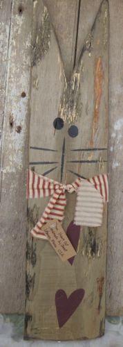 LARGE PRIMITIVE COUNTRY CAT Hand Painted Reclaimed Wood Rustic Folk Ar – Saving Shepherd