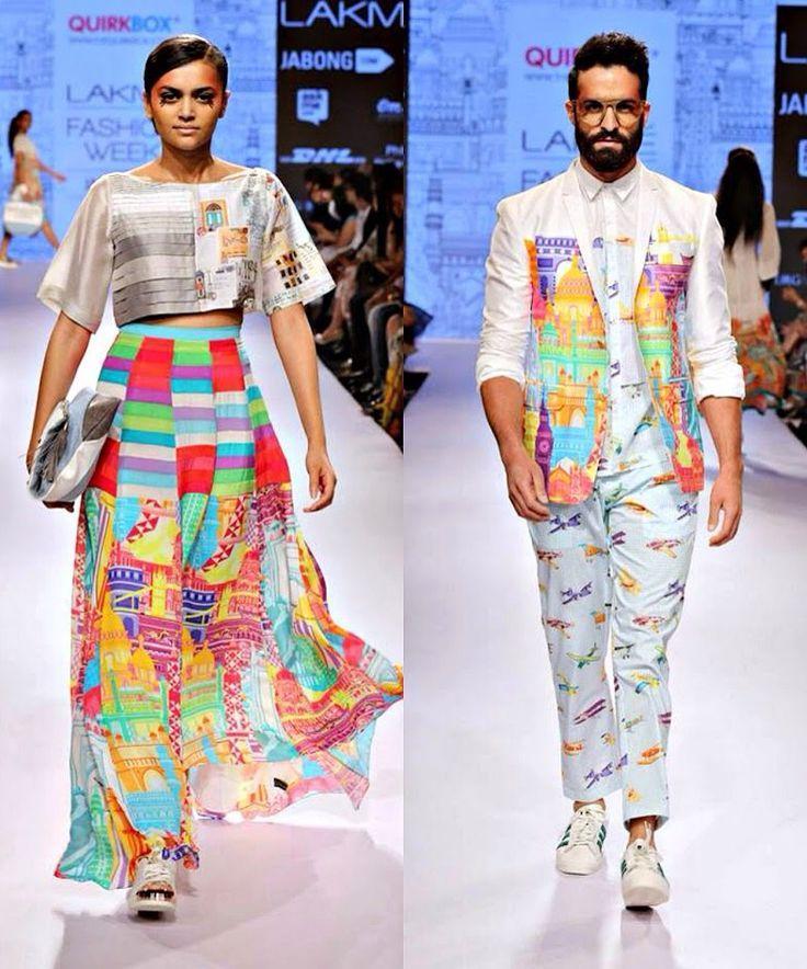 Printed skirt and crop top.