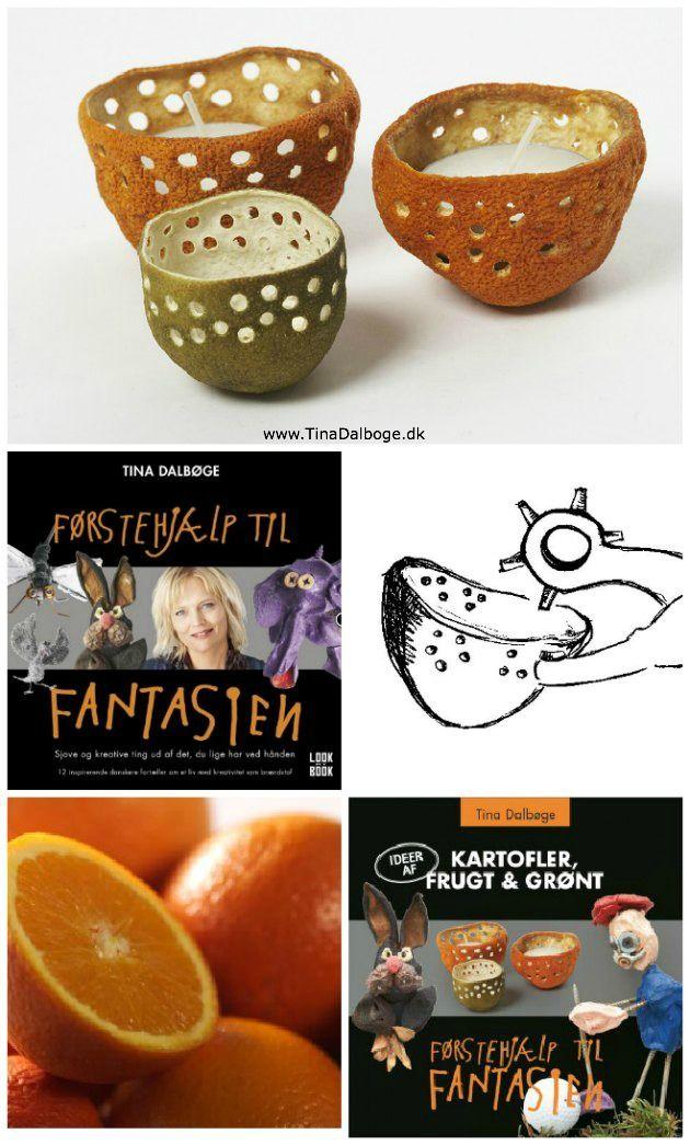 DIY lav selv lysglas af appelsinskræller. Kreativ genbrug. Køb hultang i kreahopshop.dk