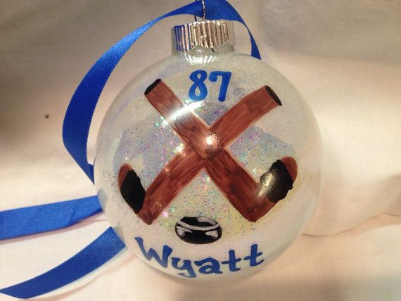 Personalized Hockey Ornament! Hand painted glass ornament!  ~~~~~~~~~~~~~~~~~~~~~~~~~~~~~~~~~~~~~~~~~~~~~~~~~~~~~~~~~~~~~~~~~~~~~~~~~    Perfect gift.
