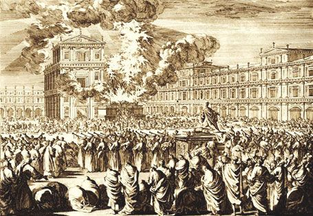 120 priests playing trumpets during the dedication of the Solomon's Temple (engraving by Otto Elliger, ca. 1700).