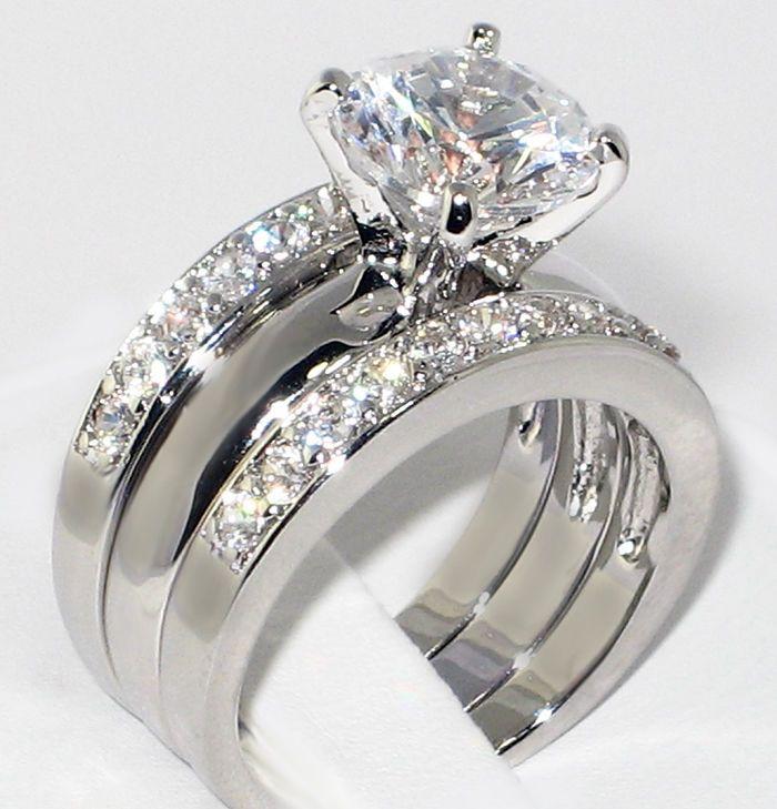 3 37 Ct Round Cz Solitaire Bridal Engagement Wedding 3 Piece Ring