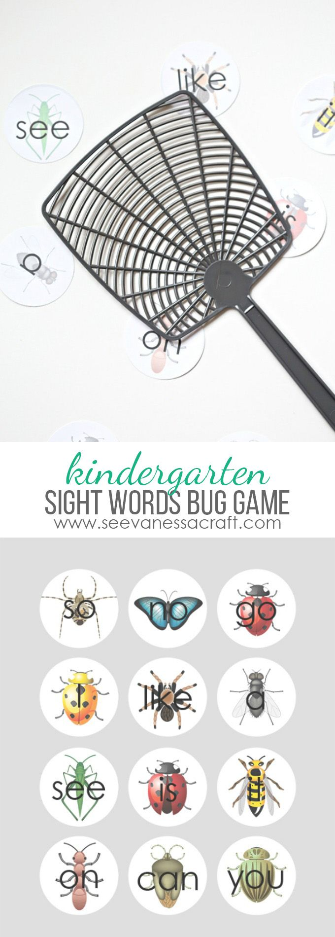 Sight Words Bug Game for Kindergarten - Free Printable