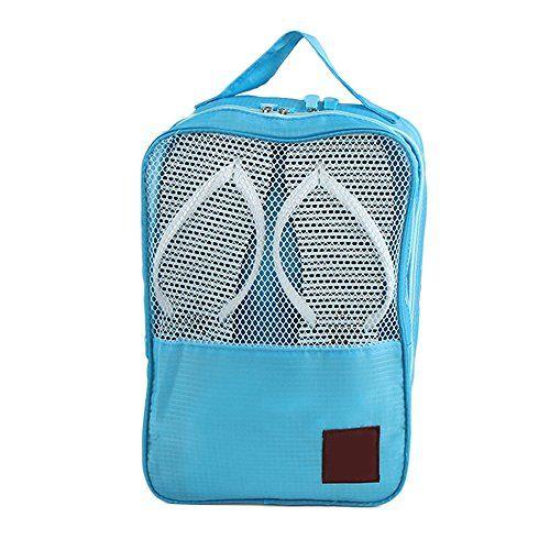 Wasserdichte Reise Nylon Schuhe Beutel-Kasten-Speicher-Tasche,3 Ebenen,Blau