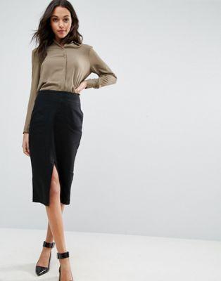 Льняная юбка-карандаш с карманами ASOS