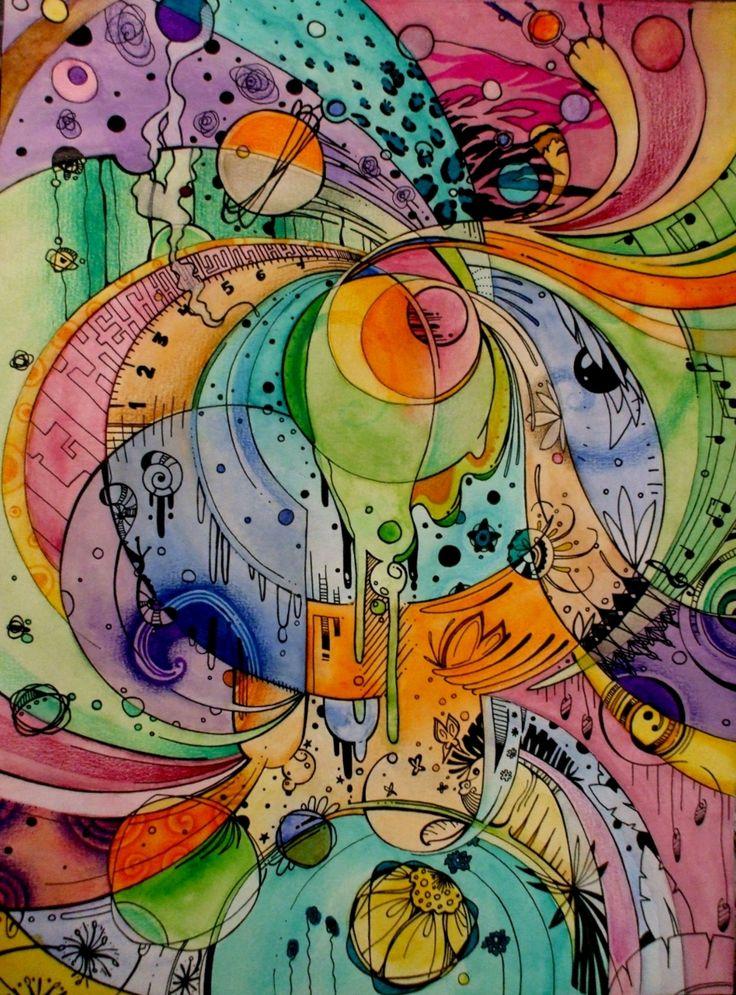 Random Art Project❗️Ink Doodles • WaterColors • Drawing with Glue • Different Mediums create random art❗️