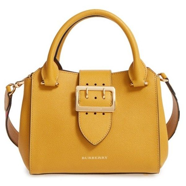 Women's Burberry Small Calfskin Leather Tote (£1,140) ❤ liked on Polyvore featuring bags, handbags, tote bags, bright straw, handbags totes, satchel handbags, oversized tote, satchel purses and vintage tote
