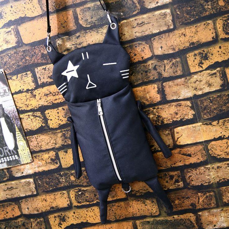 Новый Личность Дизайн Кошка Холст Сумки Забавный Мультфильм Сумка Мода Черный crossbody сумка девушки schoold мешок купить на AliExpress