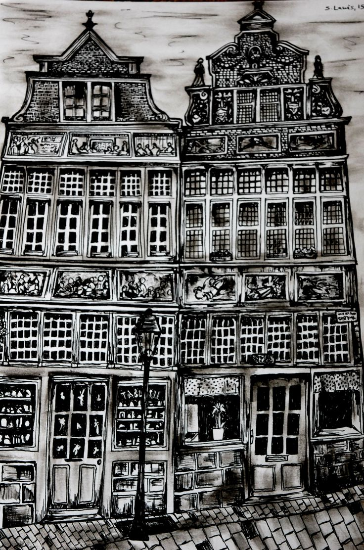 Gent, Belgium. Sketch with pen, old historical houses