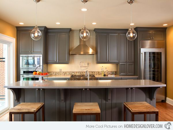 Grey cabs, light granite, with a warm paint tone on the wall. Not a huge fan of backsplash, would rather keep it more simple.