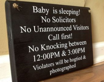 Baby Is Sleeping No Solicitors No Unannounced visitors call first no knocking naptime sign Shh funny baby sleeping door sign hanger custom