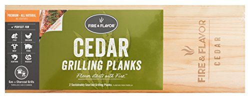 """Fire & Flavor Large 15"""" Cedar Grilling Planks, 10 planks  Fire & Flavors Cedar Grilling Planks add a beautiful presentation and robust, smoky flavor to any grilled meal.  All-natural western red cedar Grilling Planks from British Columbia.  Select cut for optimum flavor. Sustainably sourced.  Food safe verified. Recipes and instructions included.  Contains 5 - Pack of 2. Sized 5.5 x 15"""