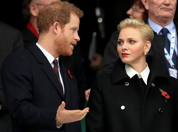 12 November 2016 - Prince Harry and Princess Charlene watch the rugby match between England and South Africa in London