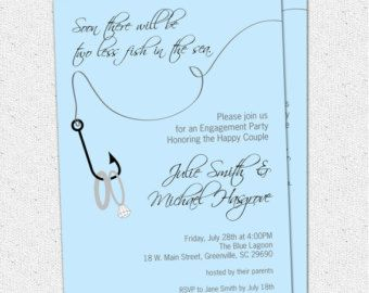 Printable Engagement Party Invitation, Two Less Fish in the Sea, Rings, Nautical, Fishing, Lake, Couples Bridal Shower, DIY Digital File