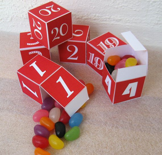 Advent Calendar  24 Numbered Red & White Boxes  by paper4download