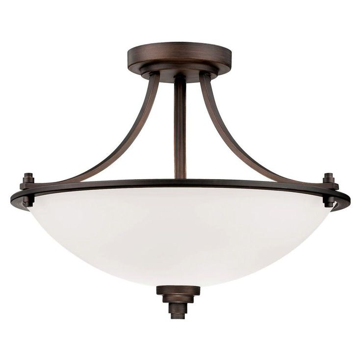 Millennium Lighting 3-Light Rubbed Bronze Semi Flush Mount with Etched White Glass-7263-RBZ - The Home Depot