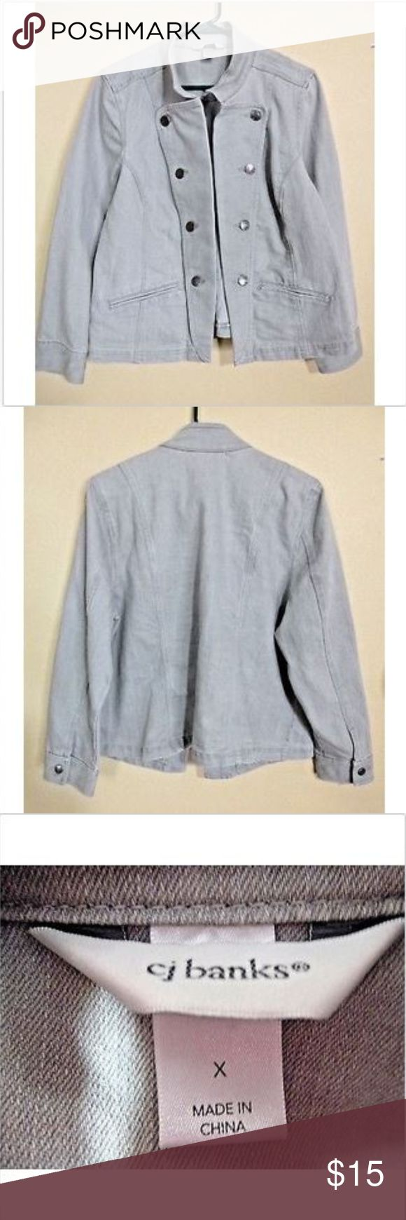 """C J Banks Womens Tan/Gray Military Style Jacket XL Brand:  C. J. Banks Condition:  Pre-owned Details:  Women's military style jacket, tan/gray color, 2 pockets that have not yet been opened, long sleeve.  Material:  71% Cotton, 28% Polyester, 1% Spandex Womens Size:  XL  Length:  25"""" Chest:  42"""" Sleeve Length from underarm to cuff:  16"""" Inventory #-- 01307 CJ Banks Jackets & Coats"""