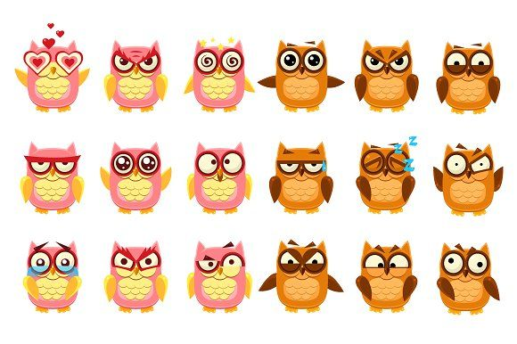 Owl Emoji Collection Graphics Owl Emoji Collection Flat Vector Cartoon Style Funny Drawing On Dark Blue BackgroudOriginal elemen by TopVectors