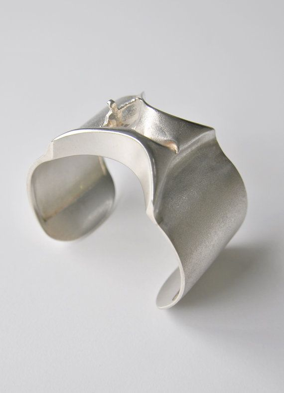 "Bjorn Weckstrom ""Man from Mercury"" for Lapponia FinlandModernist Sterling Silver Cuff Bangle 1969"