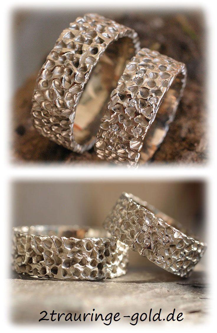 Ausgefallene Eheringe Gehämmert Aus Weissgold Mit Diamanten Im144 Weißgold Ausgefallene Eheringe Diamanten