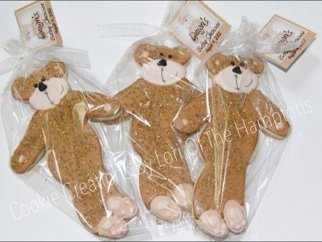 Custom teddy bear shower cookies
