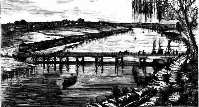 The Windsor Bridge over the Hawkesbury River was officially opened on the 20 August 1874. The town celebrated in great style with about 7000 attendees and the day was observed as a general holiday. The Australian Town & Country Journal published this  interesting sketch