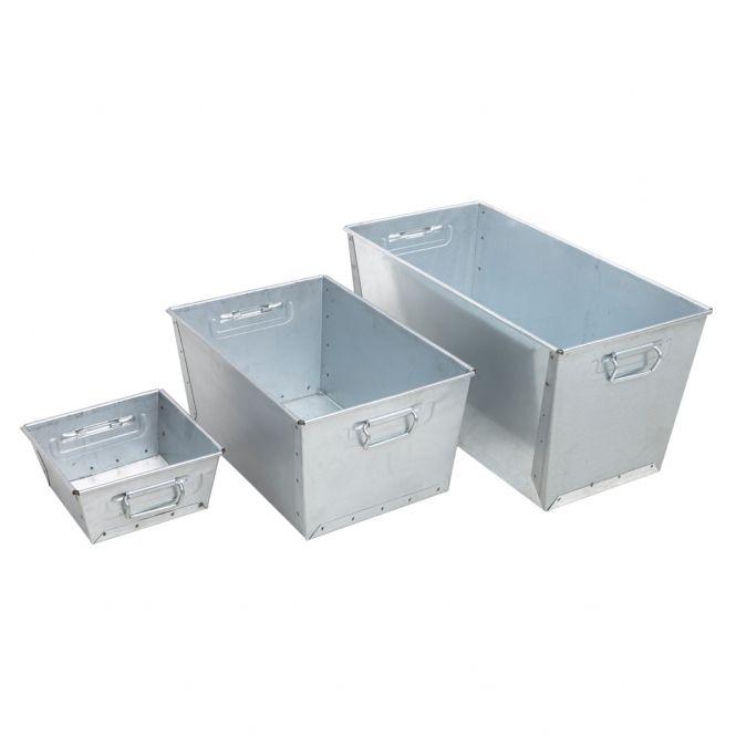 Galvanised Steel Nesting Work Pans, Galvanised Storage Container