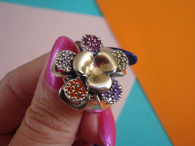 FLOWER  Material: silver, gold and zircon