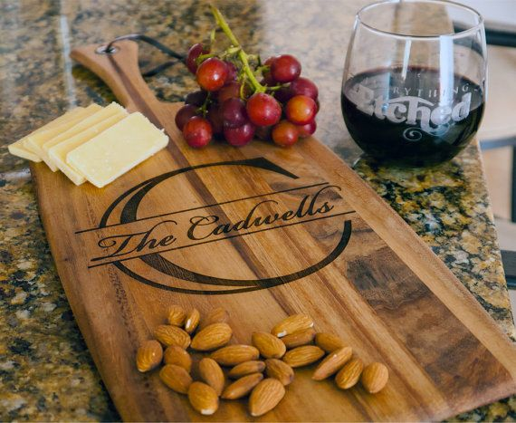 Personalized Cheese Board Arcadia Wood by EverythingEtchedAZ