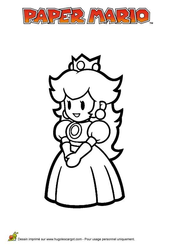 la princesse peach du jeu vido mario paper millenaire colorier