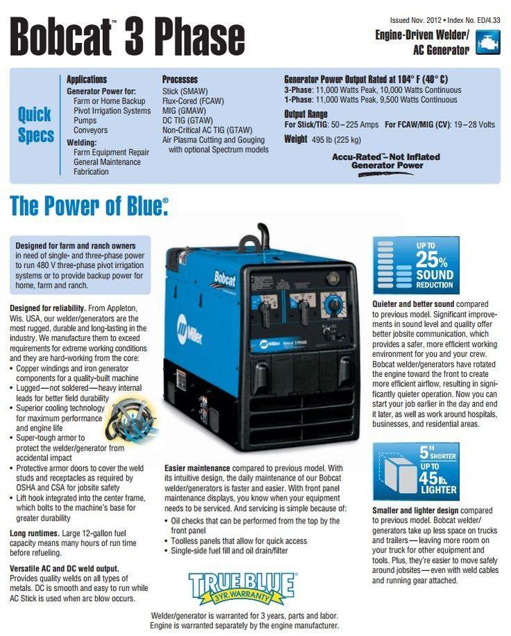 Miller Bobcat 3 Phase Kohler Welder/Generator with GFCI for sale (907505) - Buy at WeldingSuppliesfromIOC.com, based in Indianapolis, IN