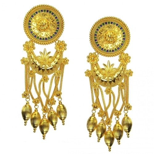 Damaskos 18k Gold and Enamel Museum Earrings, 18k Gold & Enamel. This and more handmade Greek jewelry at Athena's Treasures: www.athenas-treasures.com