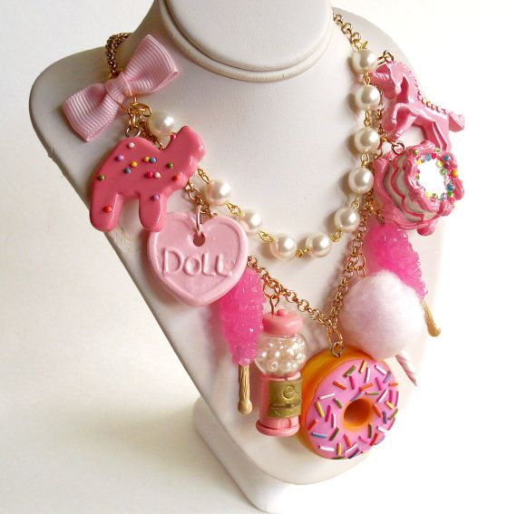Pink Candy Necklace Pink Charm Statement by FatallyFeminine