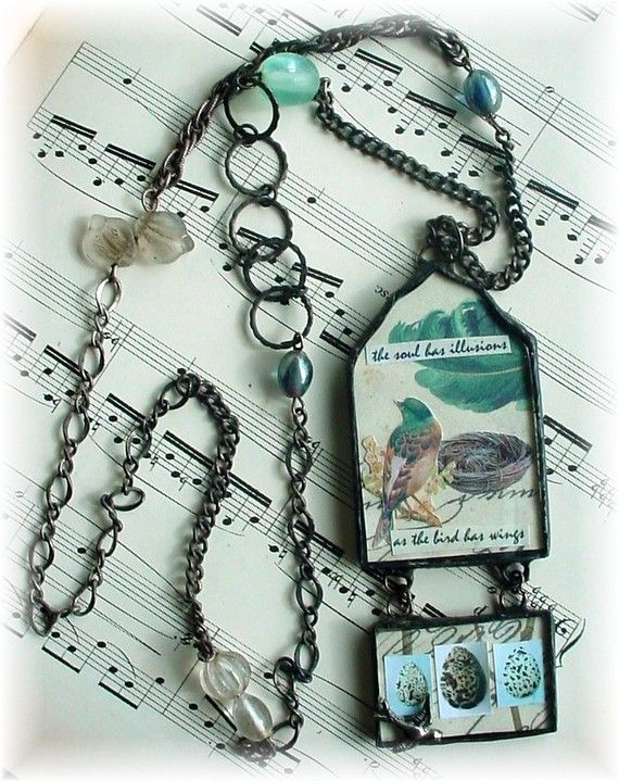 Soldered Pendant NecklaceBirds by trashtotreasureart on Etsy, $49.95