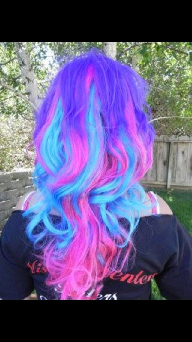 Purple,pink And blue hair