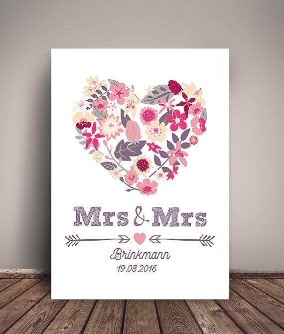 A4 Mrs & Mrs  Kunstdruck Hochzeitstag Wandbild Print von wandzucker
